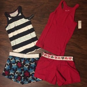 NWT Girls Shorts and Tanks 4 Piece Bundle S/6X